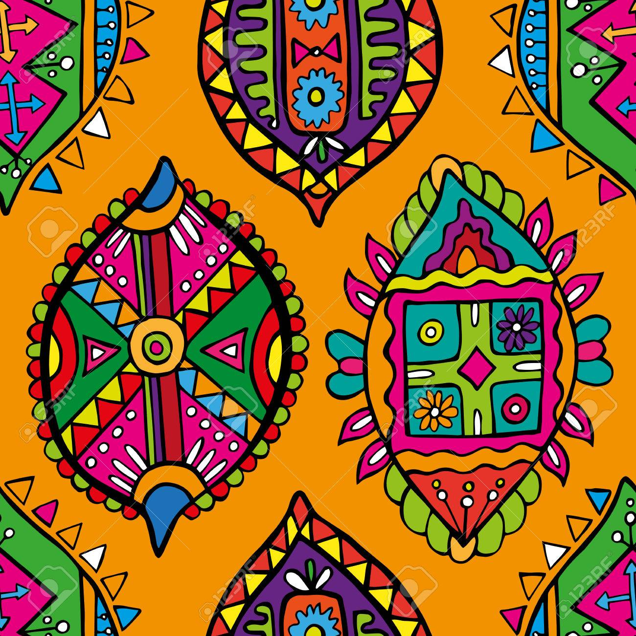 Abstract Seamless Pattern African Wallpaper Royalty Free Cliparts
