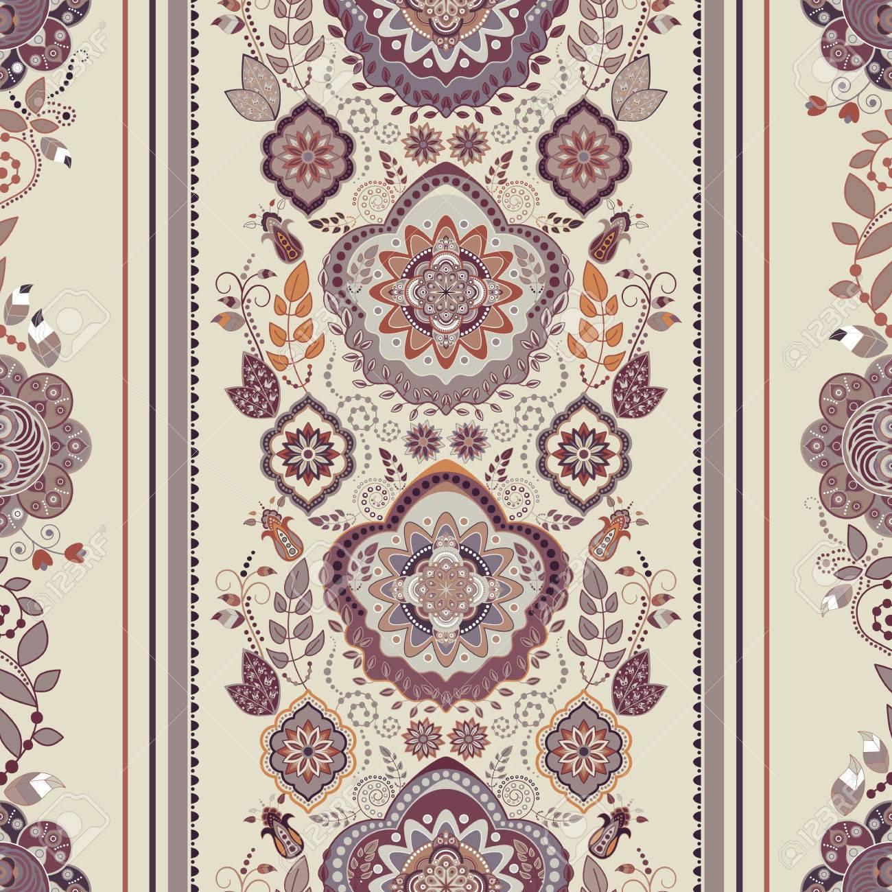 Striped Floral Pattern Decorative Ornamental Wallpaper Floral