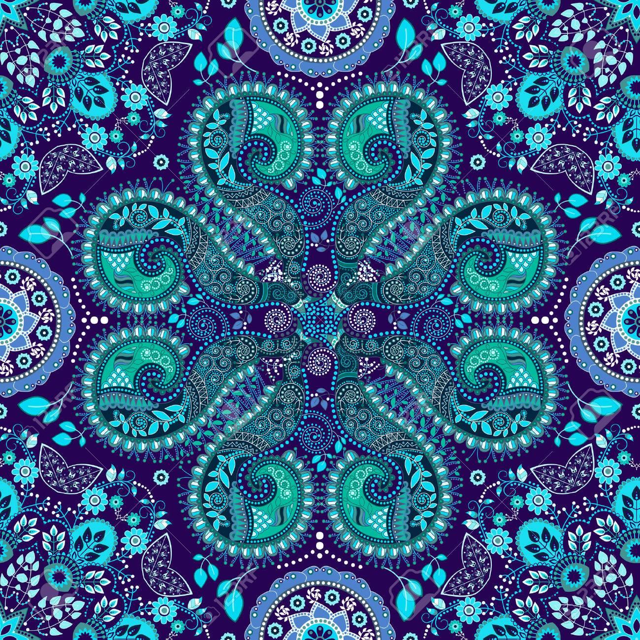 青いインド シームレス パターン ファンタジー装飾的な壁紙のイラスト