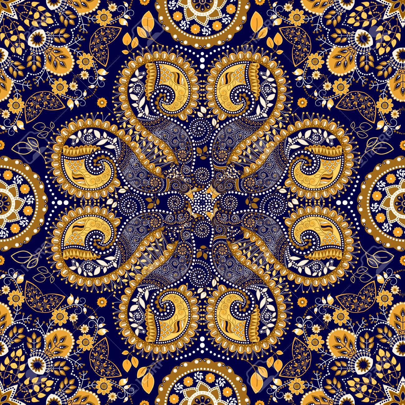Bleu Seamless Indien Fond D Ecran Fantasy Ornementale Clip Art Libres De Droits Vecteurs Et Illustration Image 45889719