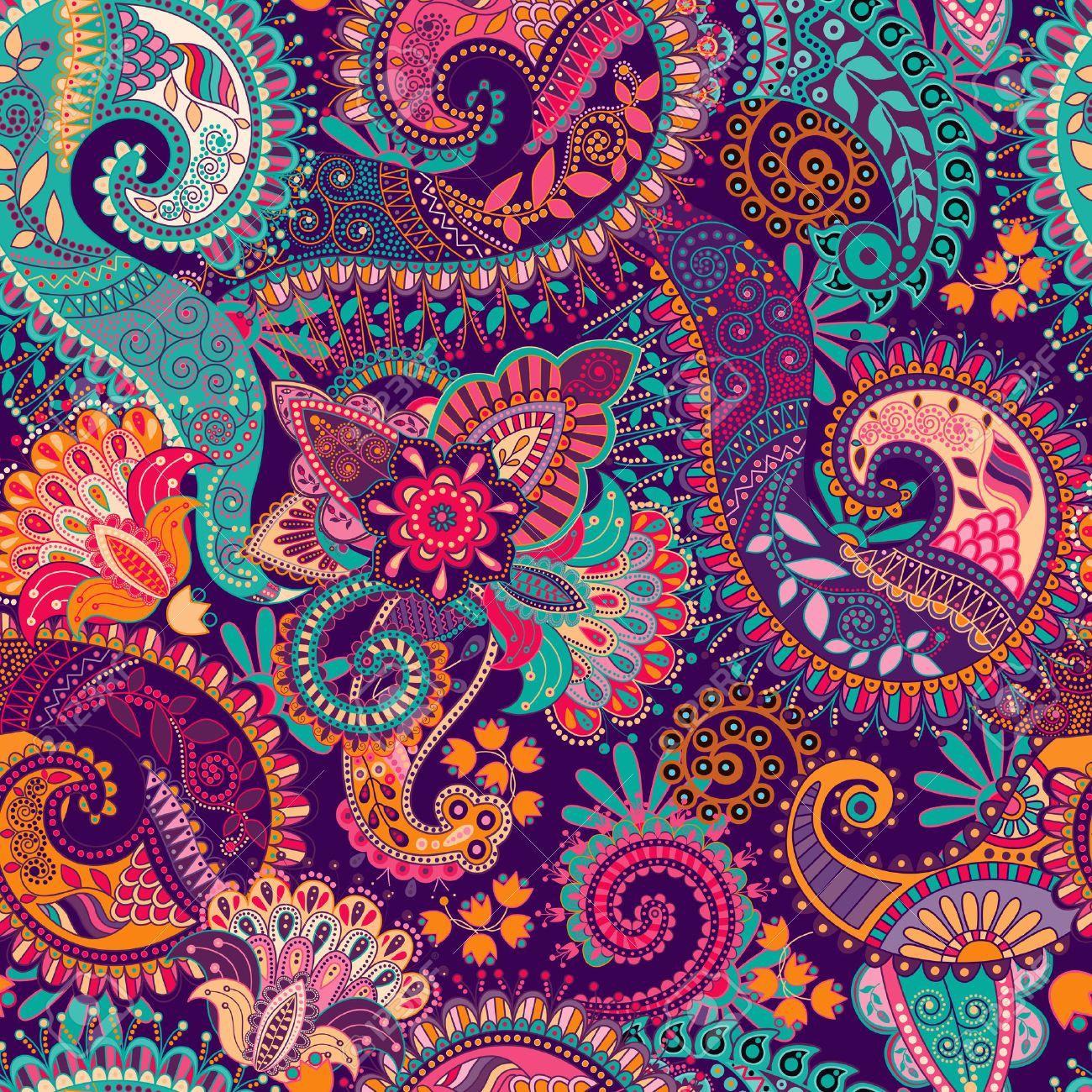 シームレスなペイズリー柄 花柄の壁紙 ファンタジー背景のイラスト