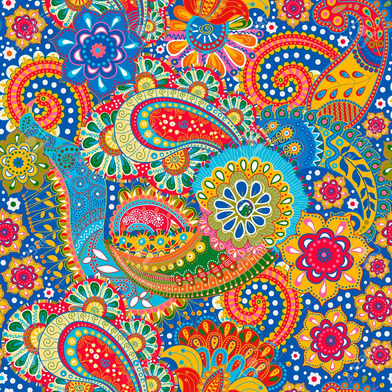 Floral seamless pattern. Colorful Paisley background, textile - 45890034