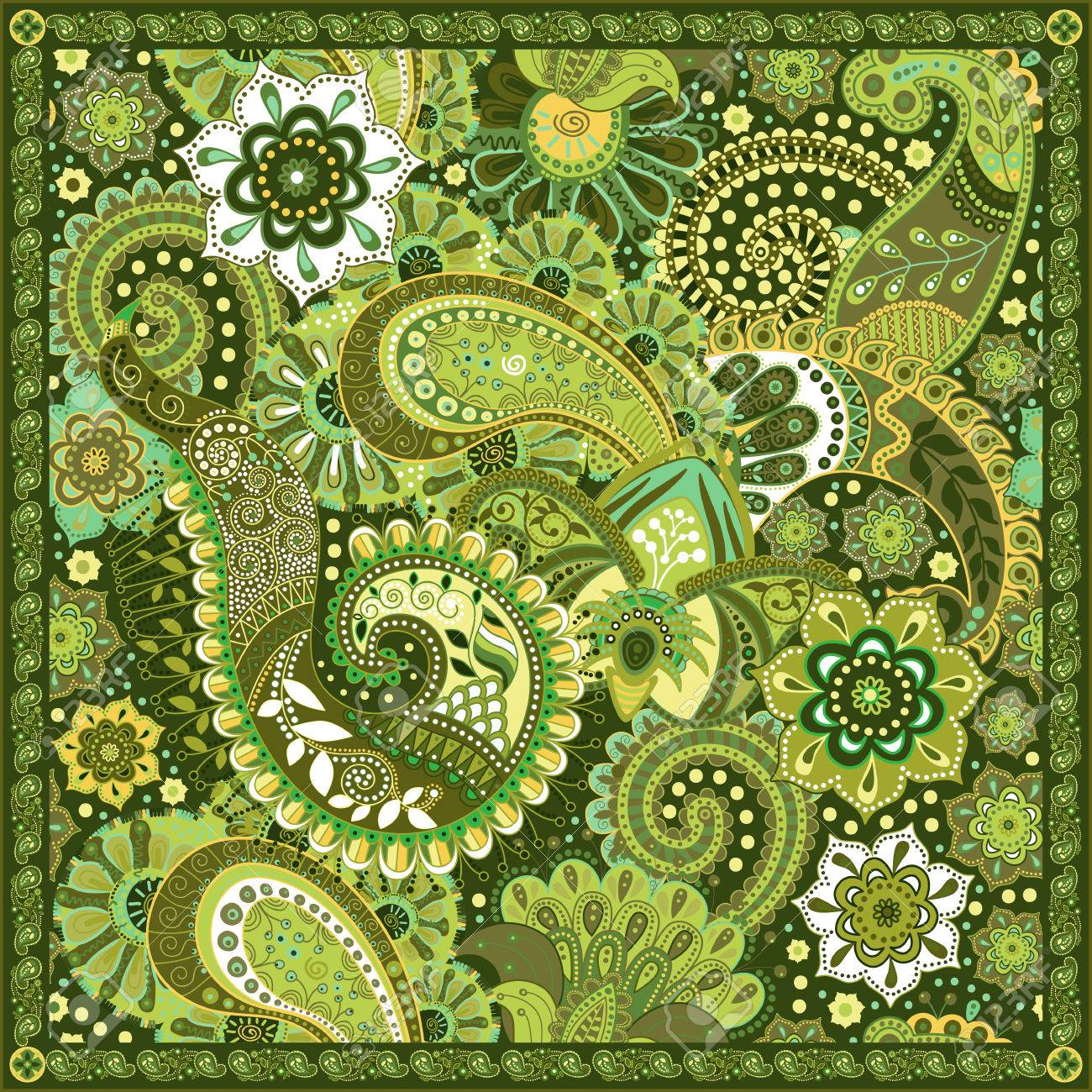 Ornamental colorful pattern, design for pocket square, textile, silk shawl - 49814313