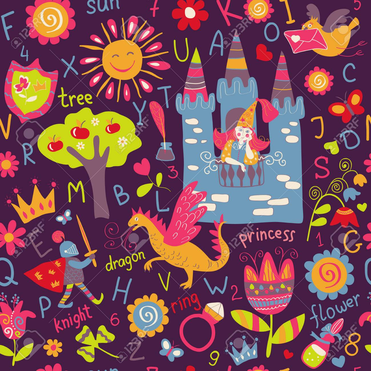 child seamless pattern, fairy tale wallpaper, background royalty