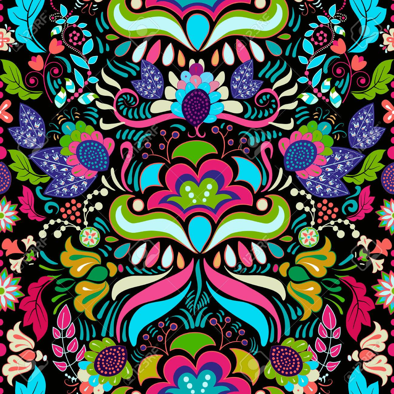 Bright Colorful Seamless Pattern Colorful Flowers Wallpaper Royalty