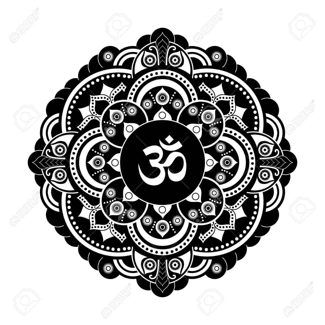 Vector De Mandala Henna Tatoo En Blanco Y Negro Om Símbolo