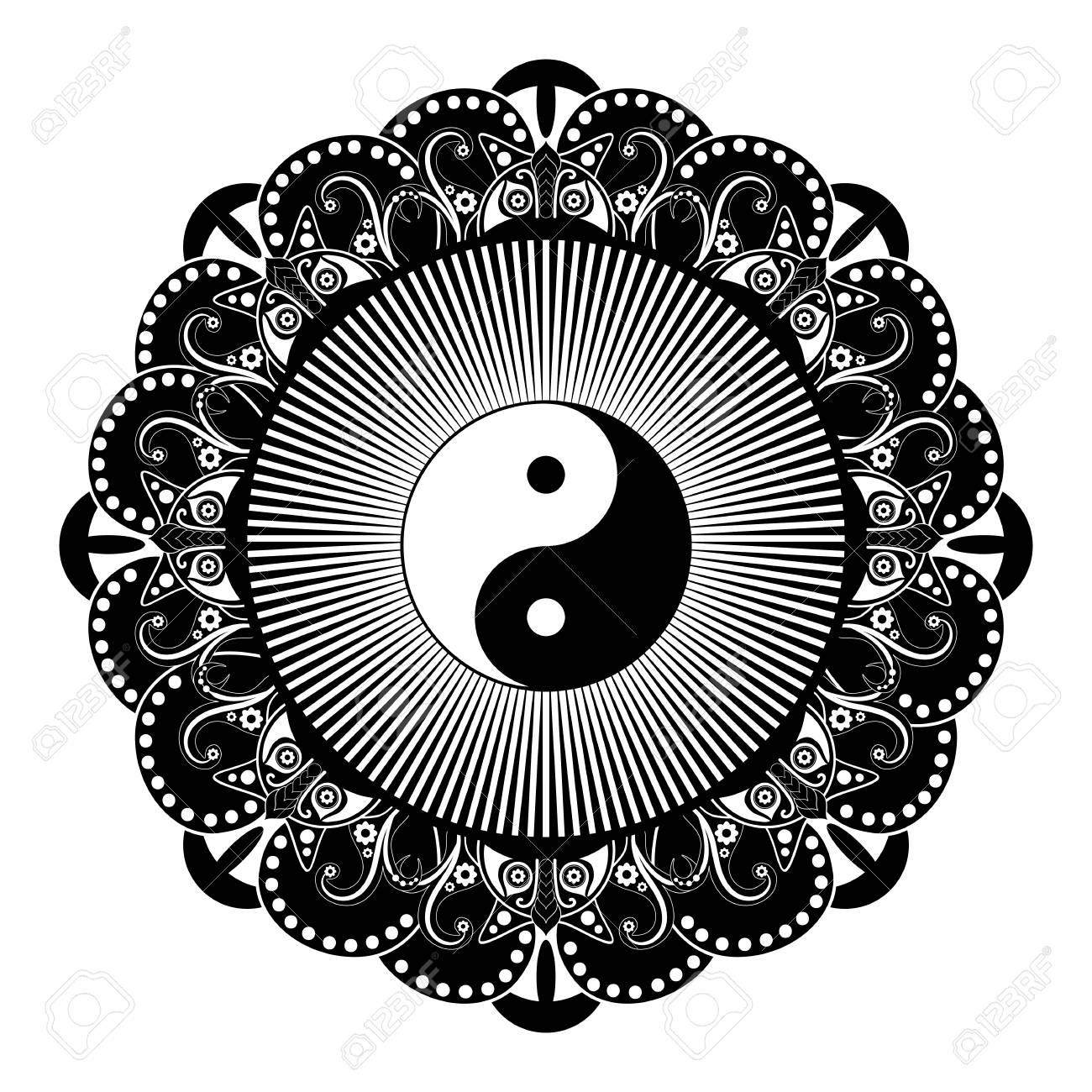 Pace Bianco E Nero mandala di tatoo del hennè vettoriale in bianco e nero. yin e yang simbolo  decorativo