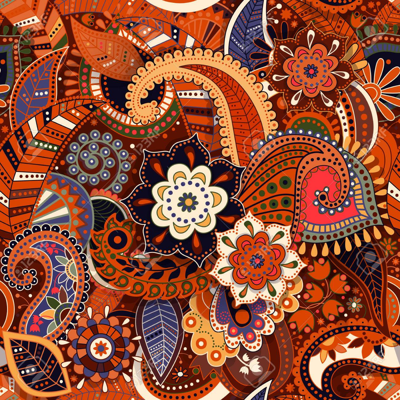 Colorful Paisley Pattern Original Decorative Backdrop Indian
