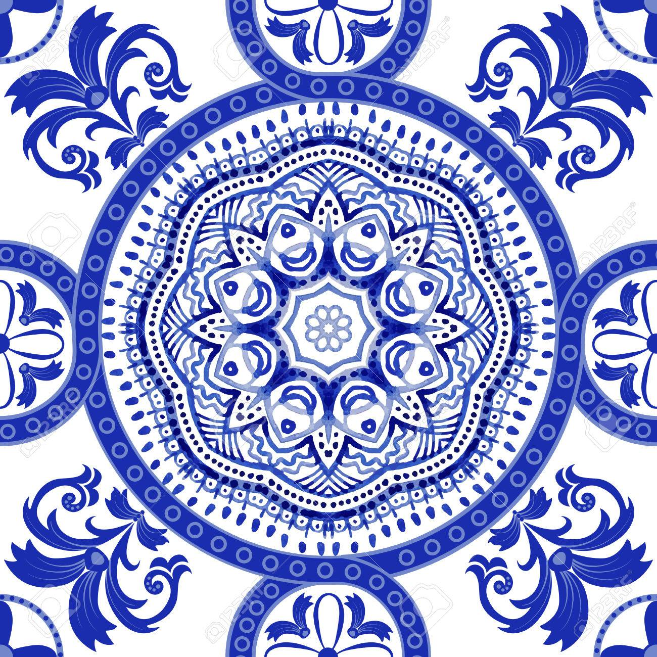 White And Blue Ornamental Pattern Indian Decorative Wallpaper
