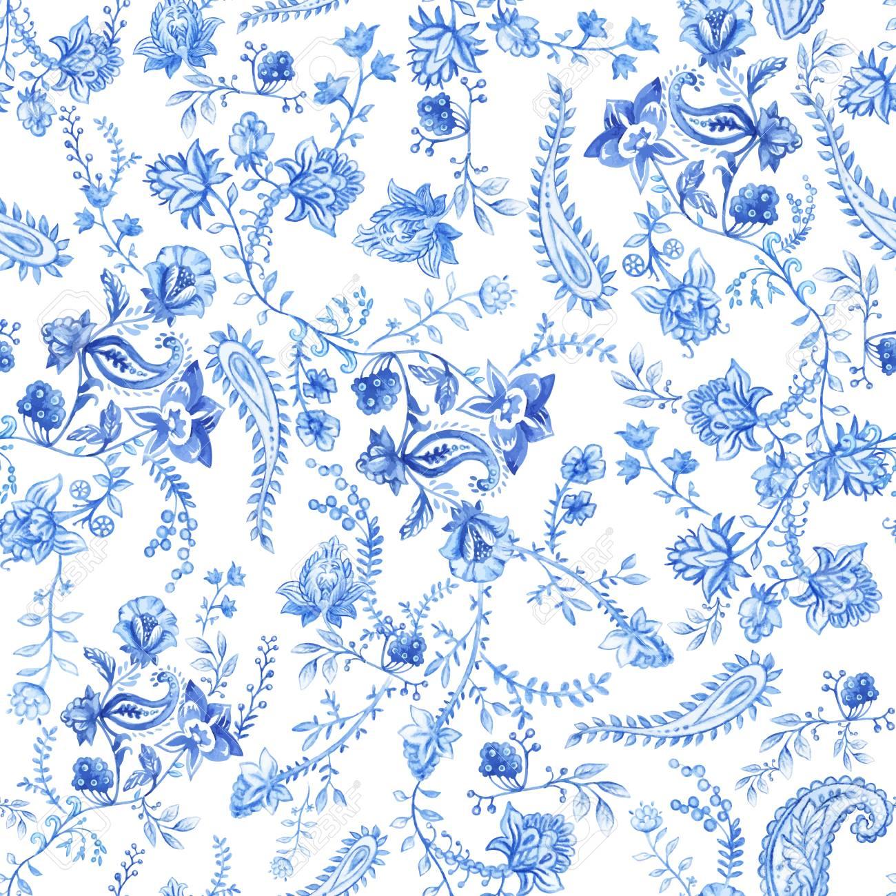 青と白の花の壁紙 ペイズリー風のシームレス花柄装飾的な植物の背景