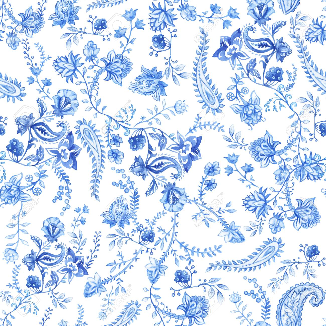 Blue And White Floral Wallpaper Floral Seamless Pattern In