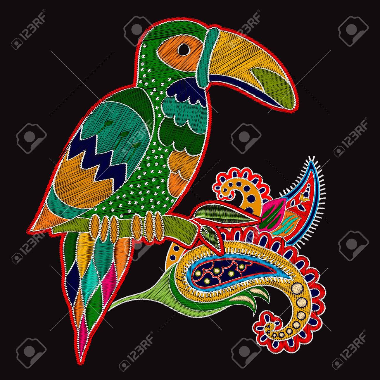 Embroidery Oriental Print With Big Bird Floral Folk Template Toucan And Paisley Flower On