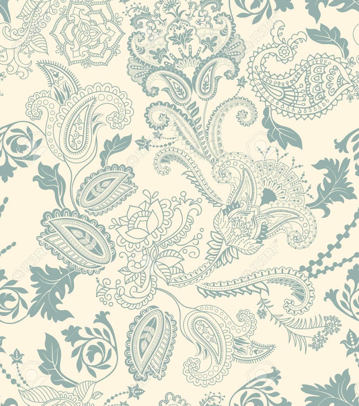 Colorful floral seamless pattern. Plants ornament. Decorative..