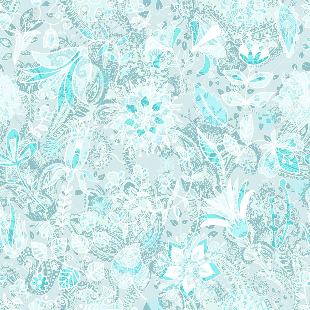 Light floral seamless pattern. Plants ornament. Decorative flowers..