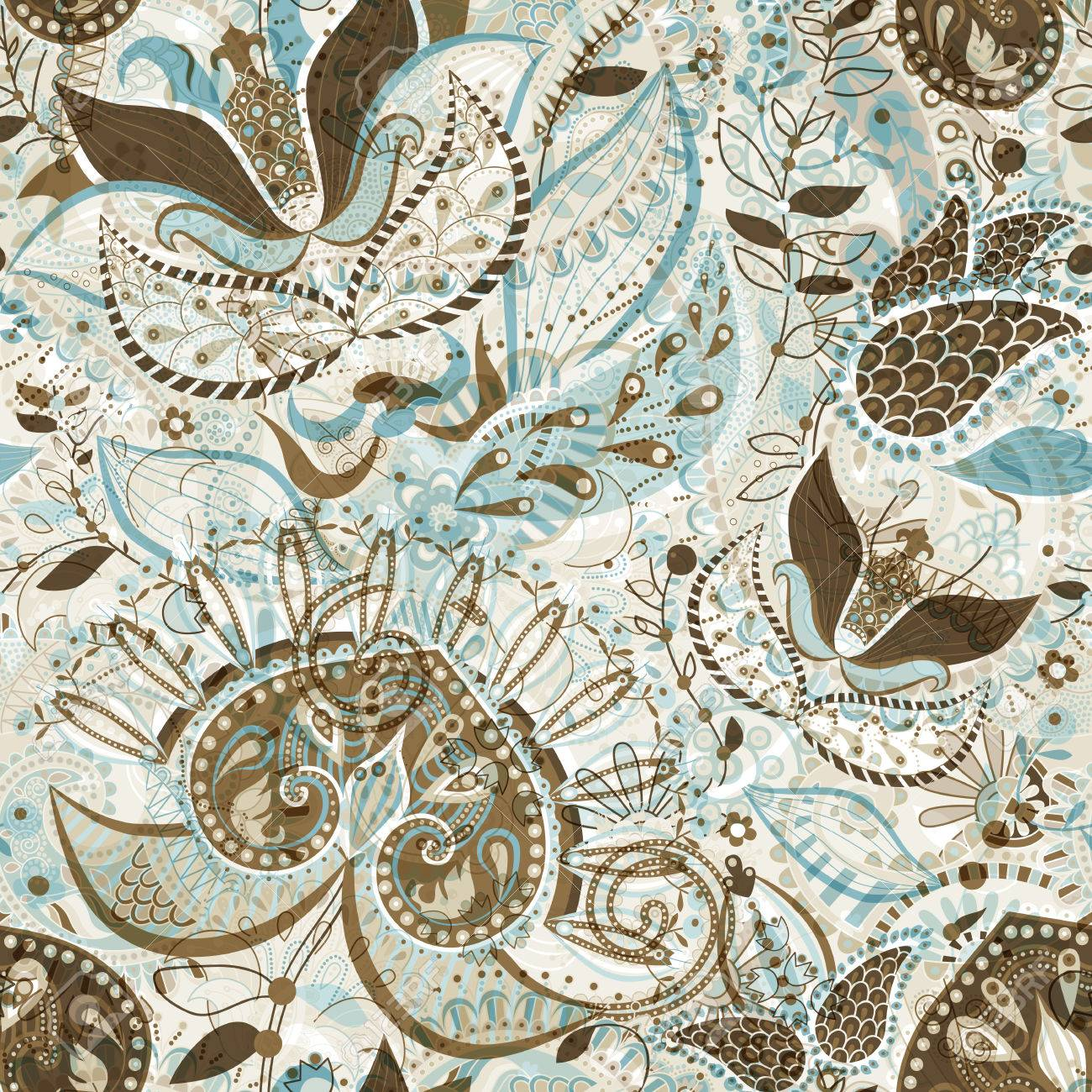 A Vector Seamless Pattern With Big Decorative Flowers Blue And