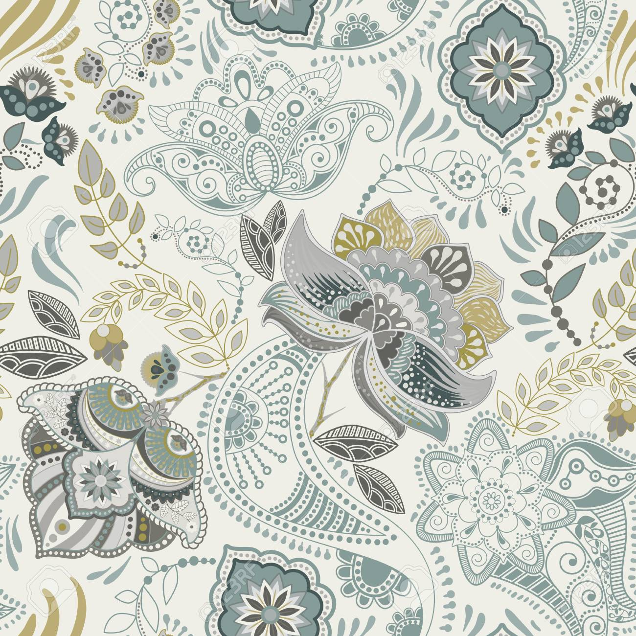 Floral vintage seamless pattern. Retro plants style. Paisley motif. Colorful damask ornament - 94567273