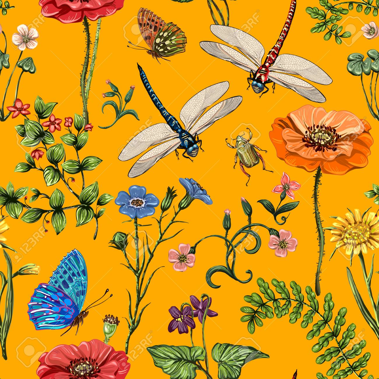 Summer Vector Seamless Pattern Botanical Wallpaper Plants Royalty Free Cliparts Vectors And Stock Illustration Image 94567277
