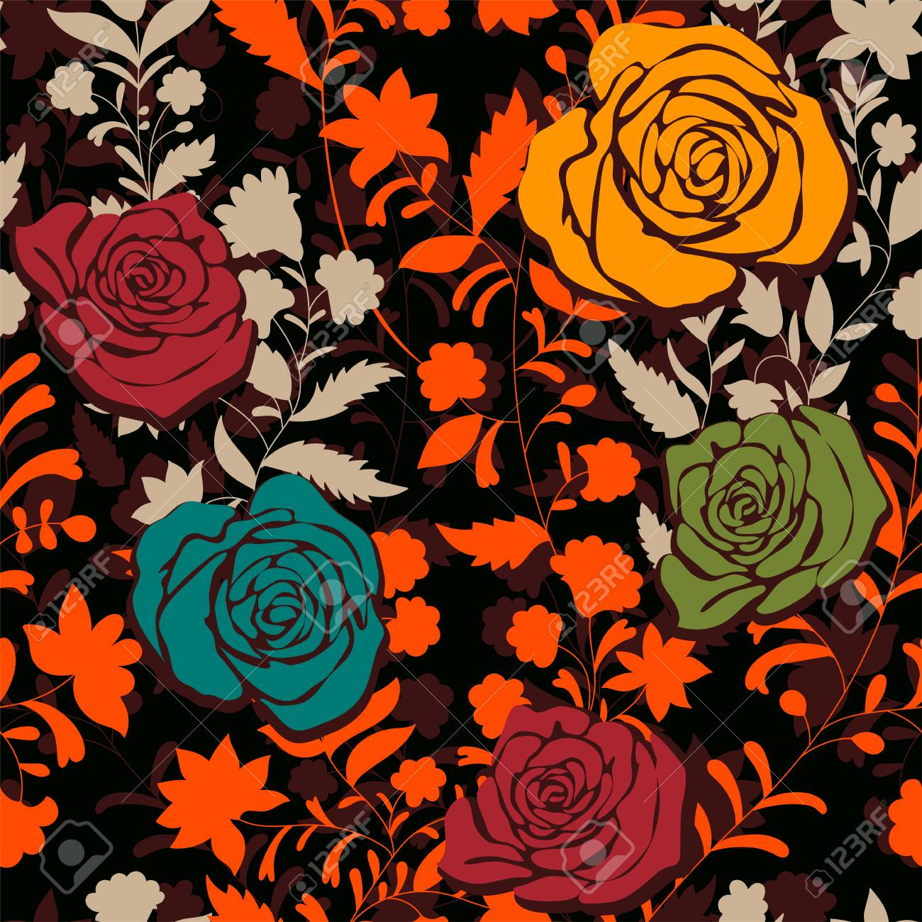 Colorful Pattern With Roses Decorative Flowers Seamless Pattern