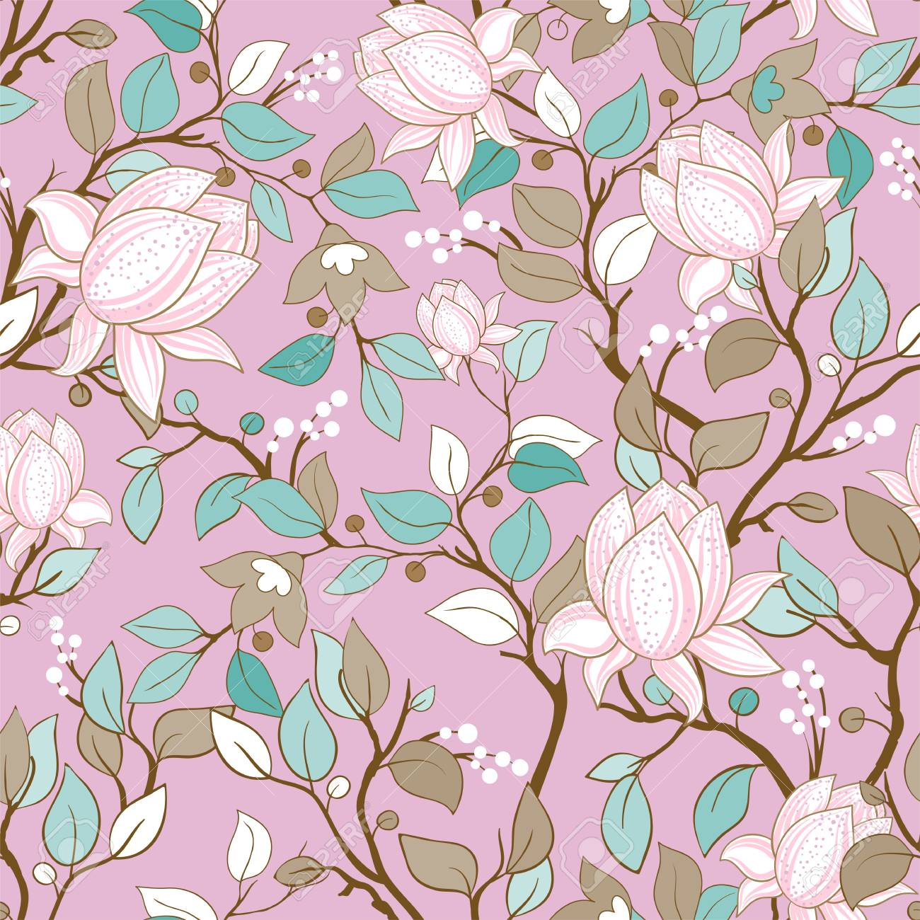 Delicate Seamless Pattern With Large Decorative Magnolias Vector