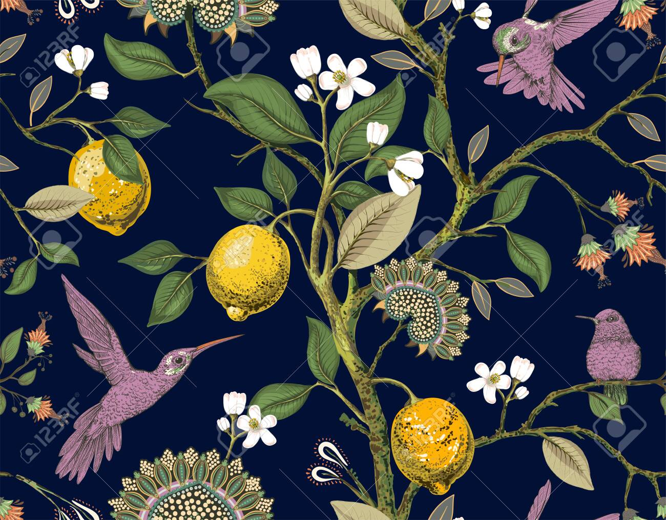 Floral Vector Seamless Pattern Botanical Wallpaper Plants