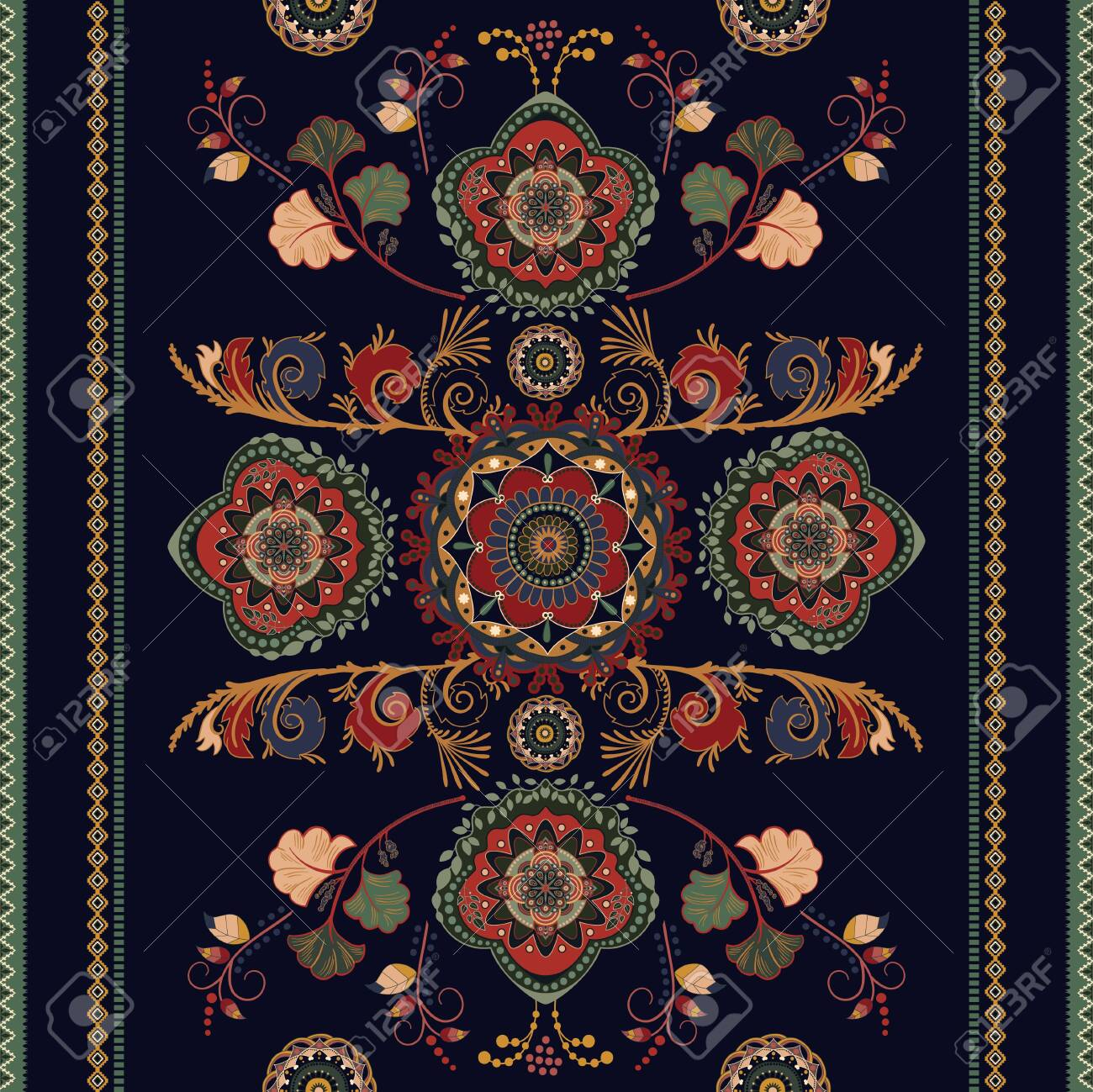 Colorful ornamental seamless vector design for rug, carpet, tapis. Seamless ornamental pattern. Geometric floral backdrop. Arabian ornament with decorative elements. Vector template - 137132373