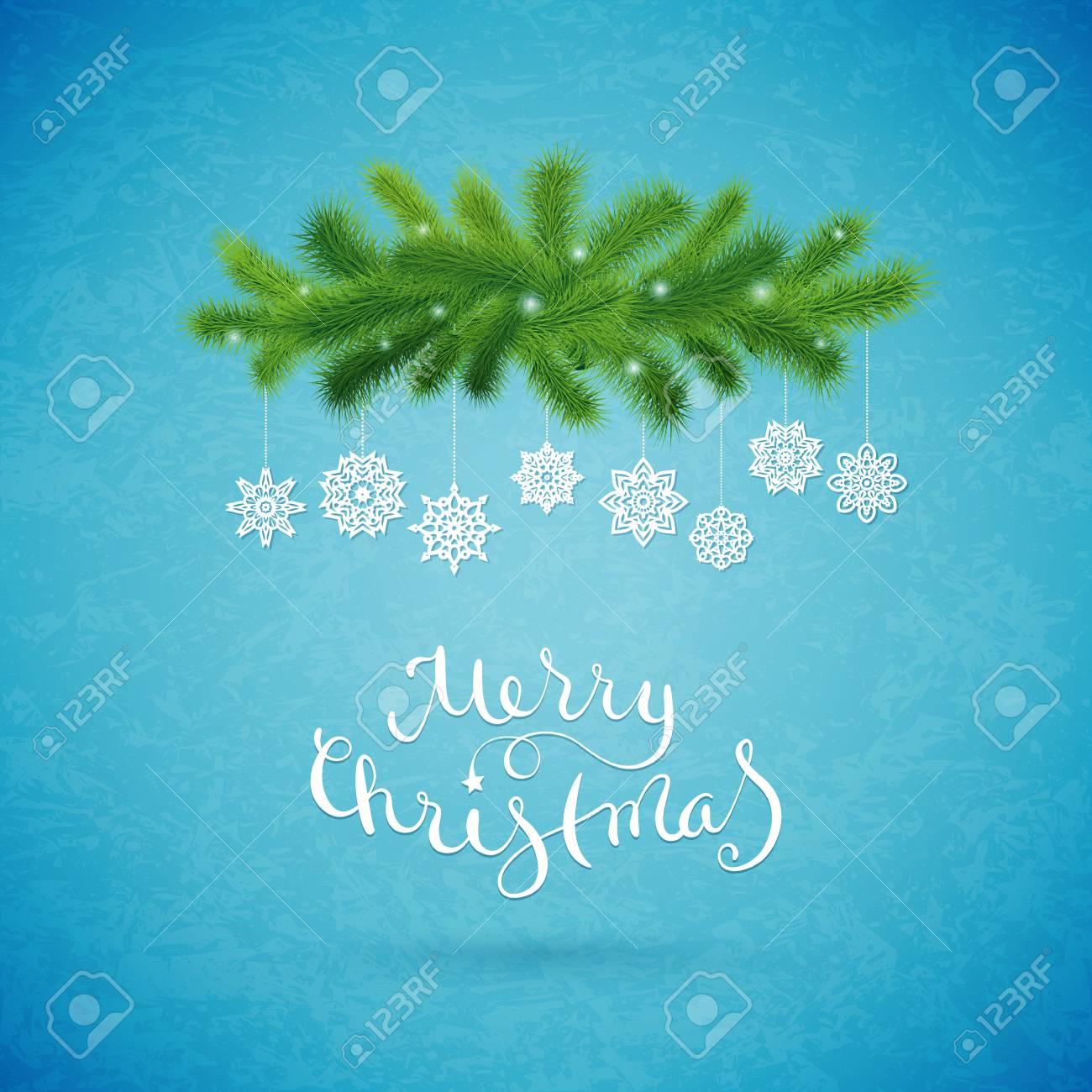 Schöne Weihnachtskarte Mit Tanne Und Schneeflocken. Lizenzfrei ...