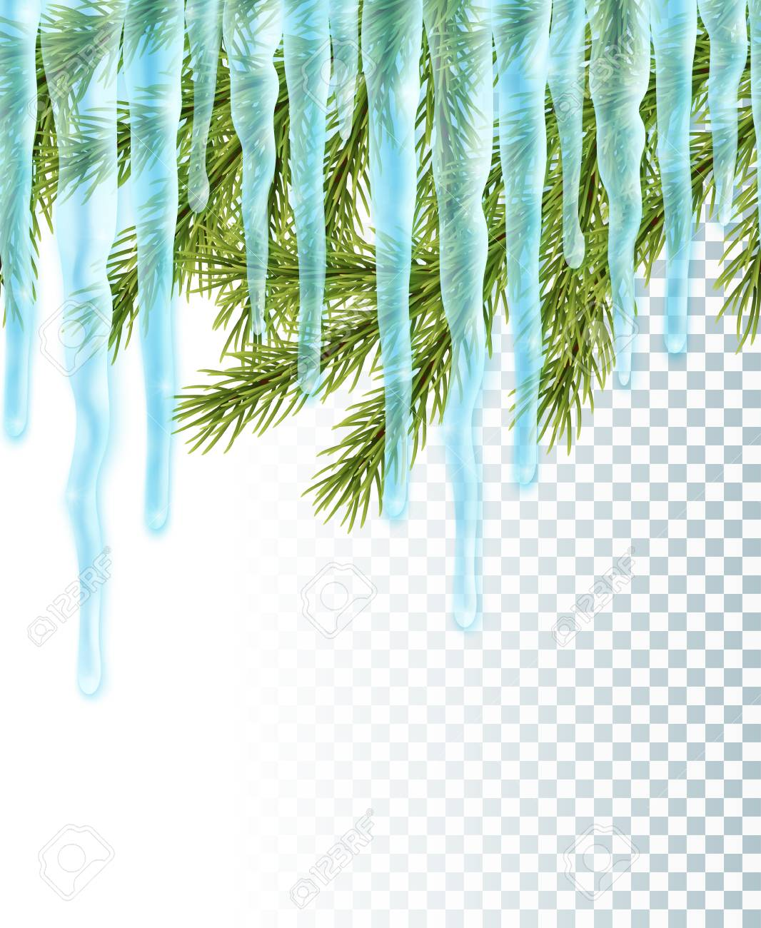 Realistic Christmas Background With Icicles And Pine Tree, Seamless ...
