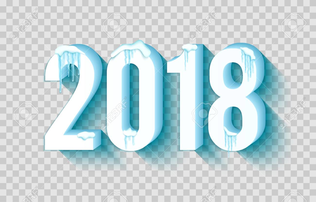 happy new year 2018 with frosty snow and icicle over transparent background vector illustration