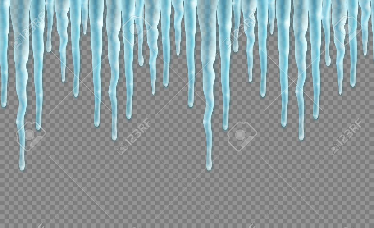 seamless border with realistic icicles over transparent background