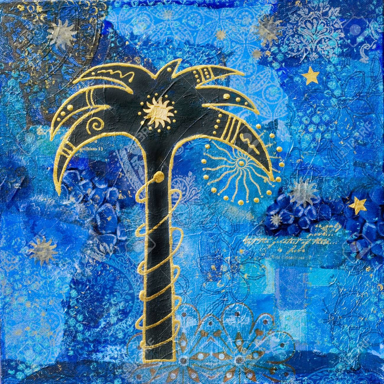 collage painting with palm tree artwork is created and painted