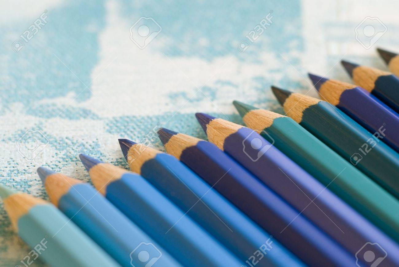pencil crayons in different shades of blue Stock Photo - 3149144