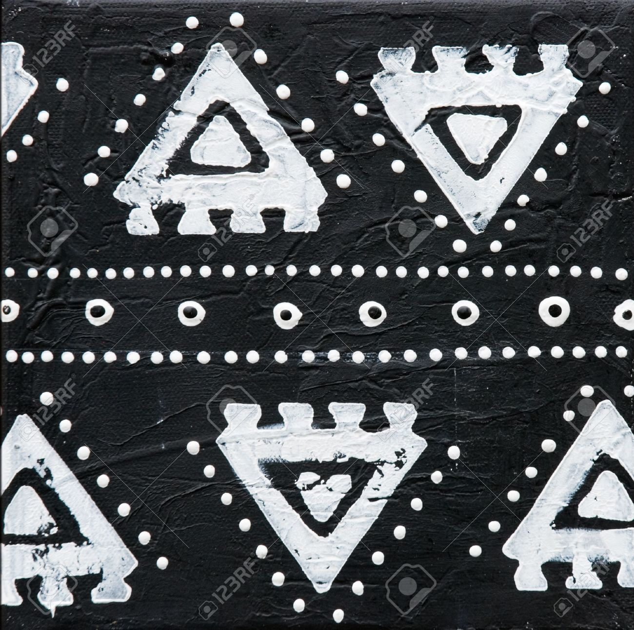 Black and white painting african style artwork is created and painted by myself stock photo