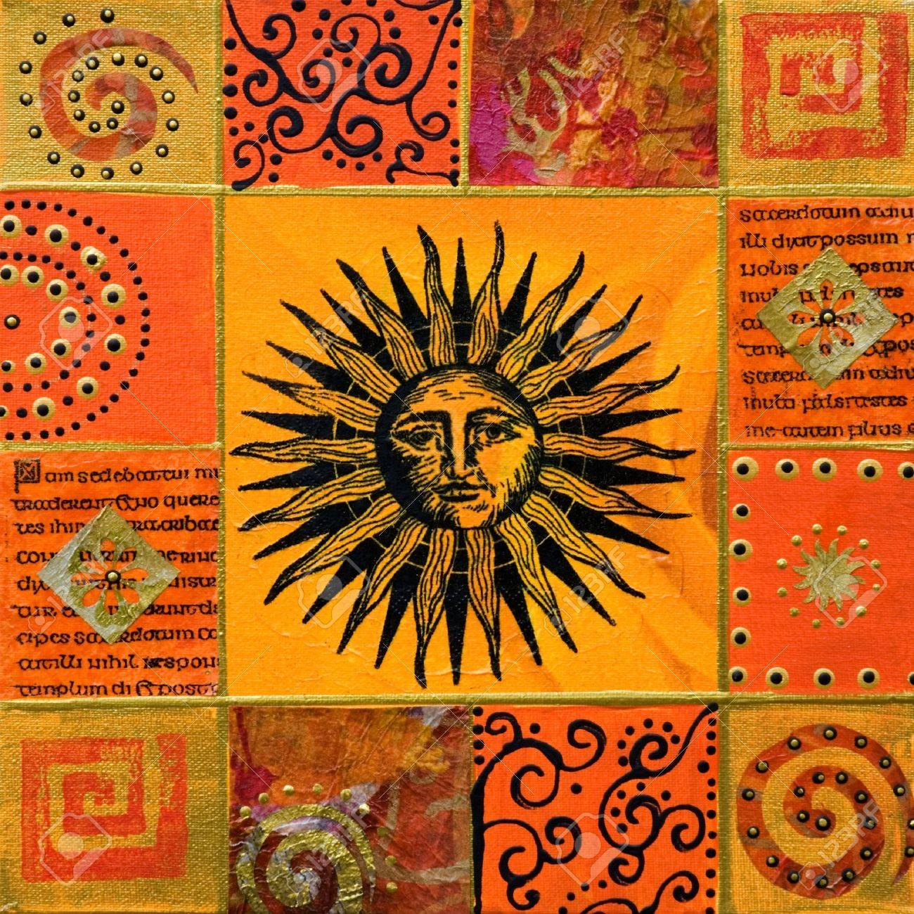 Collage painting with sun, artwork is created and painted by myself; Stock Photo - 3160247