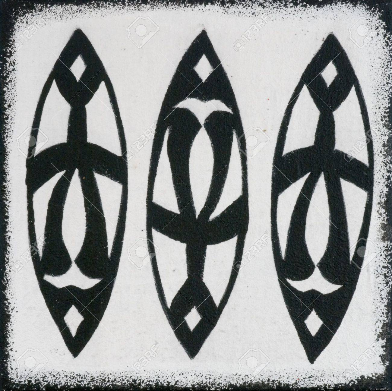Black and white painting african design artwork is created and painted by myself stock photo