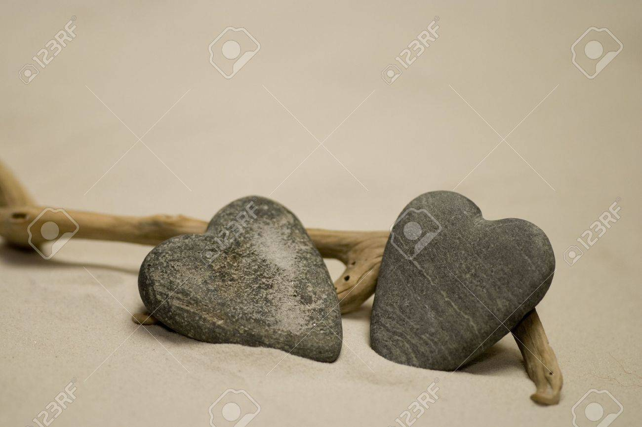 Two heart shaped stones on the beach Stock Photo - 3184201