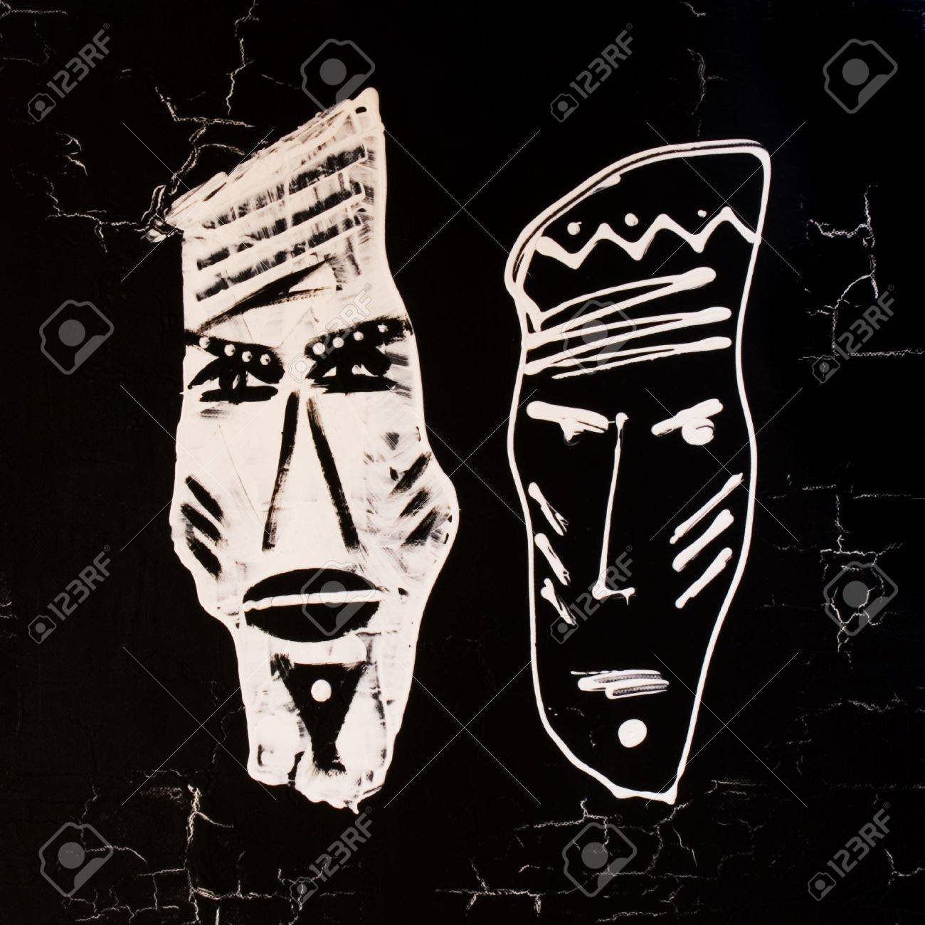 Handpainted african design black and white artwork is created and painted by myself stock photo