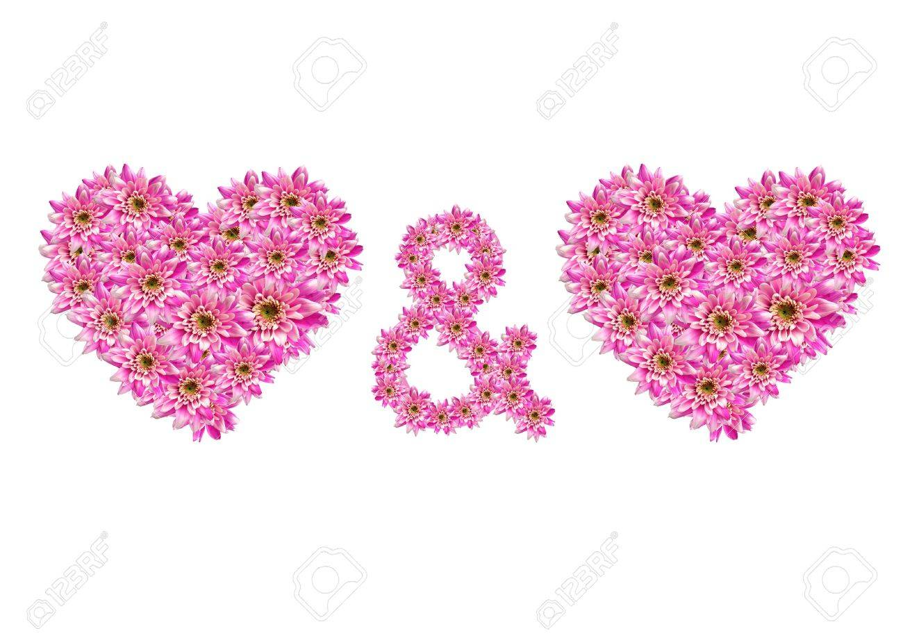 two flower hearts and a plus symbol Stock Photo - 6384272