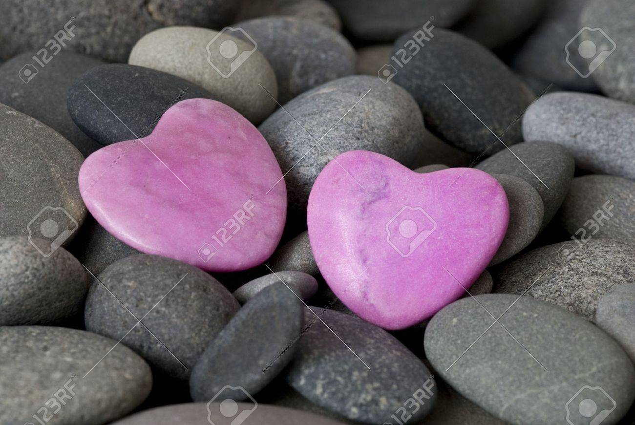 pink stone hearts and gray pebble Stock Photo - 6534674