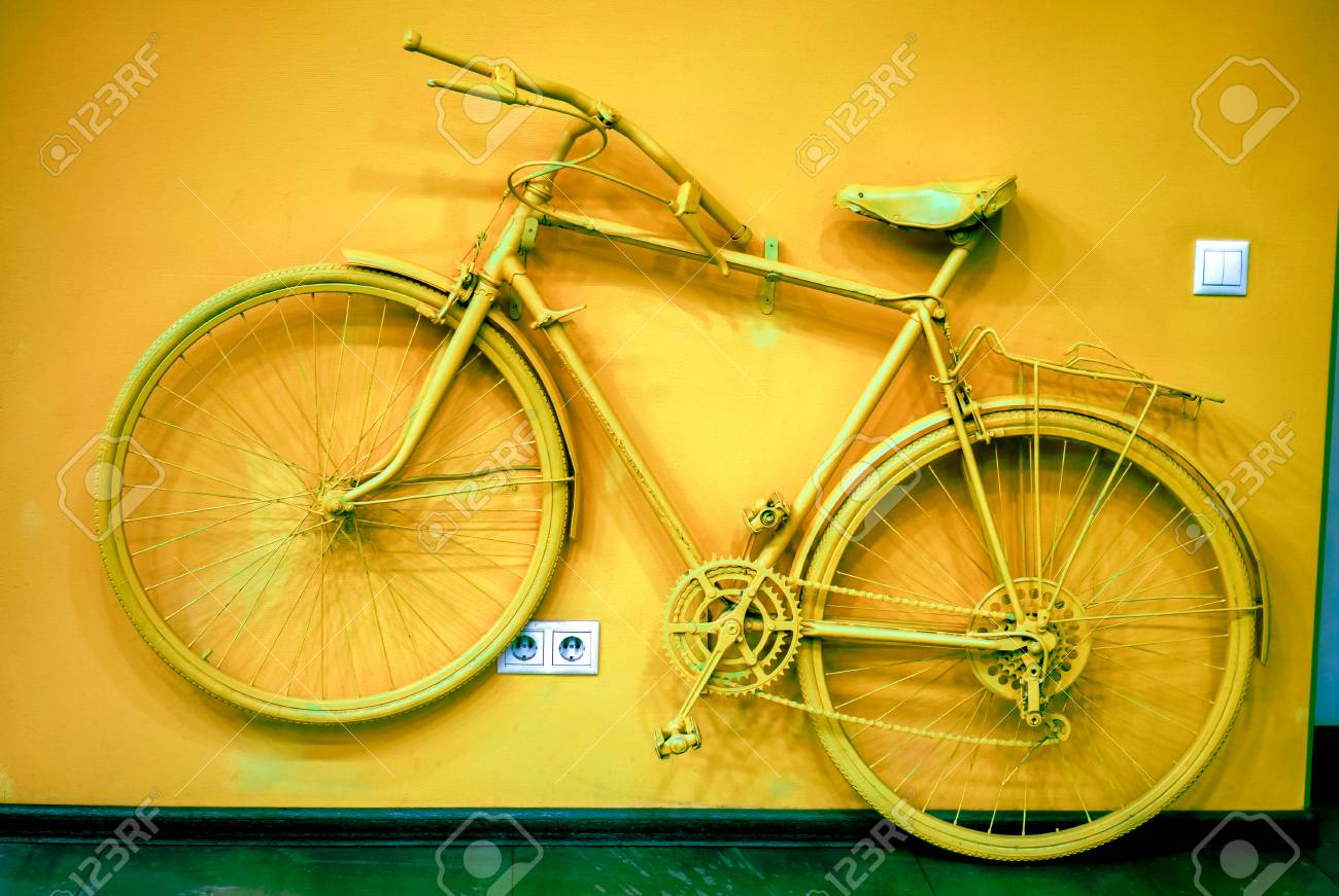 Old Man Bicycle Toned To Bronze Color And Connect To Wall As.. Stock ...