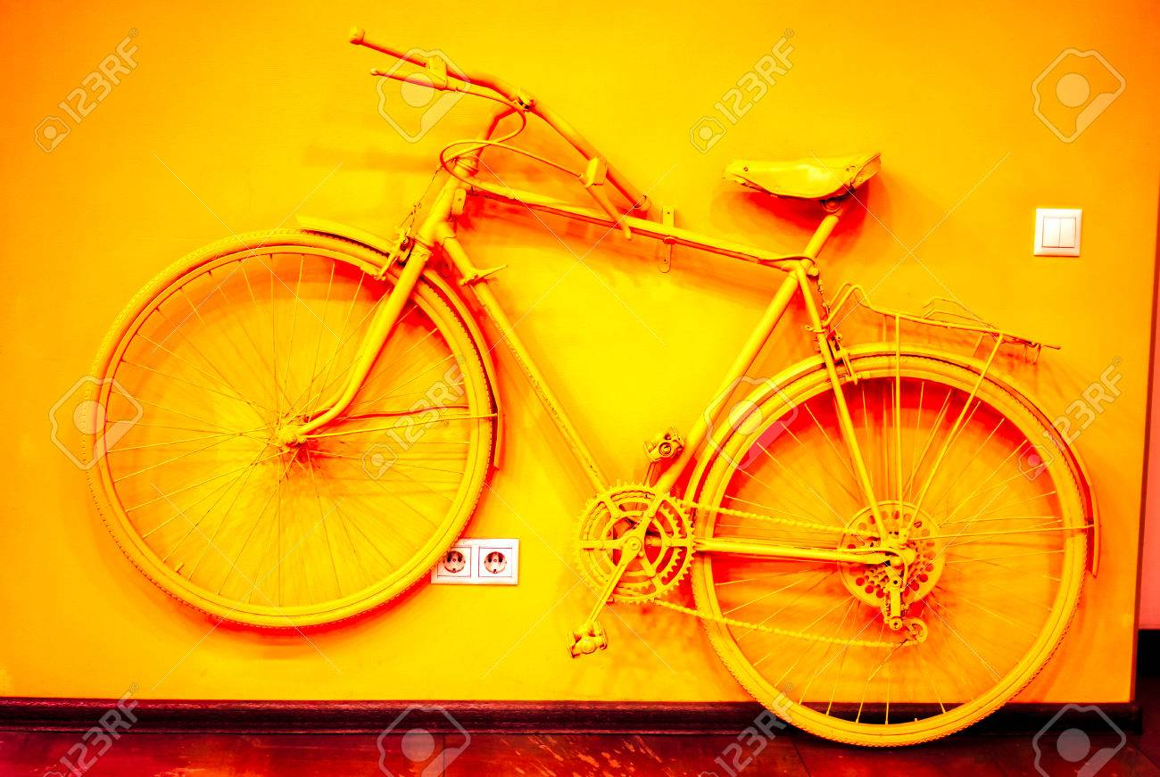 Vintage Bicycle Toned To Acid Orange Color And Connect To Wall ...