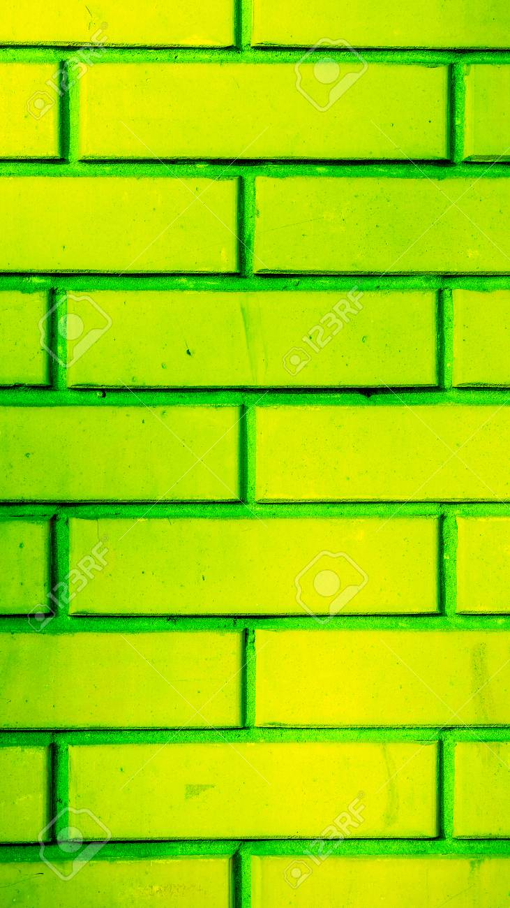 Acid Green Yellow Brick Rows With Dark Vertical Horizontal Lines ...