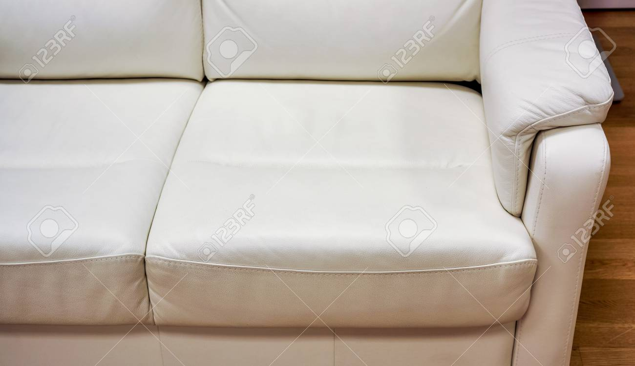 Big White Lather Soft Sofa Divided Into Three Sections For Comfortable  Waiting On Reception Or In