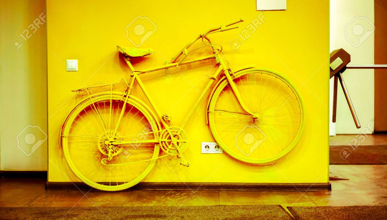 Decoration In Office. Golden Bicycle As Decoration And Power.. Stock ...