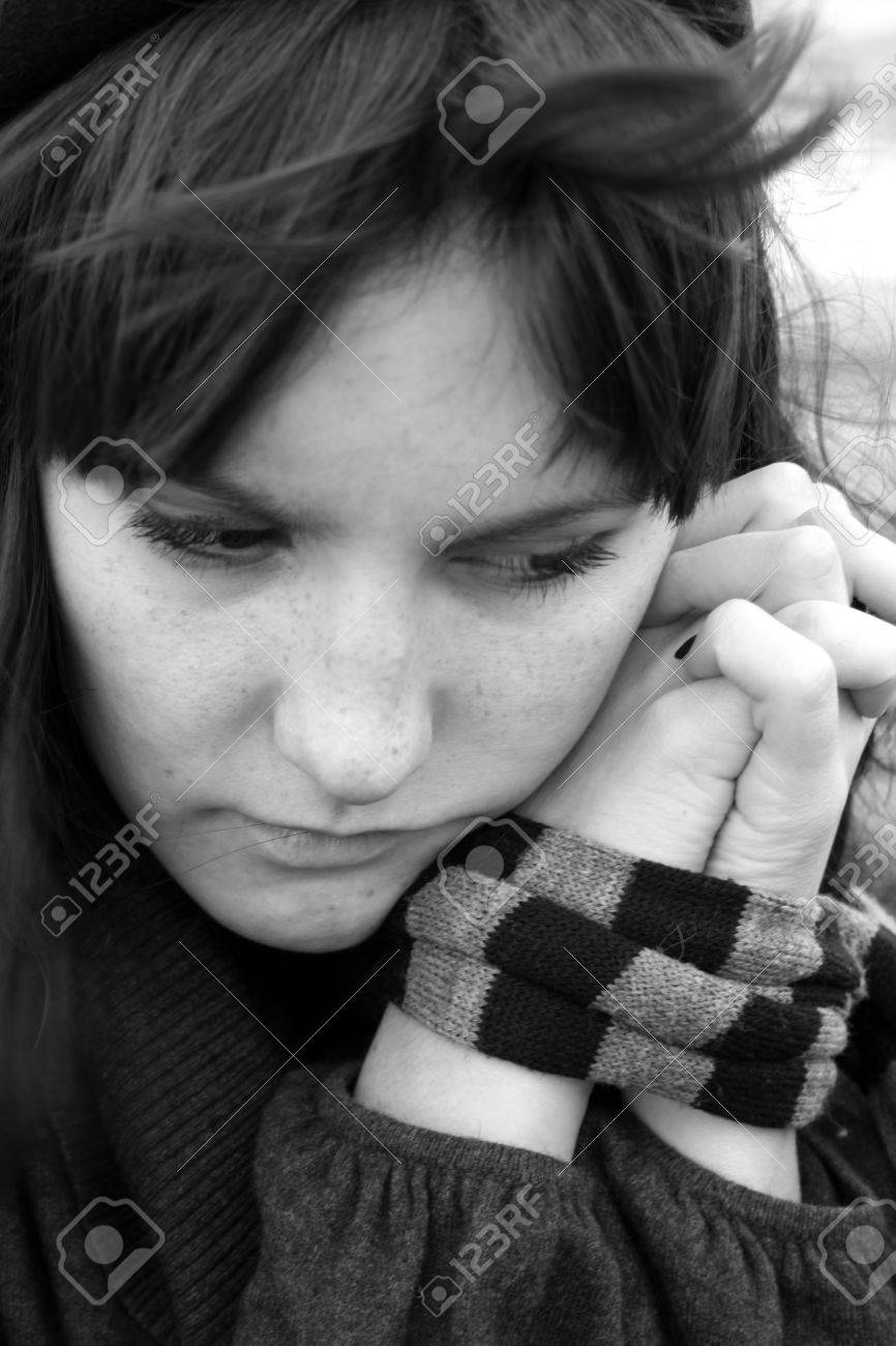 Depressed woman with captive hands Stock Photo - 15855468
