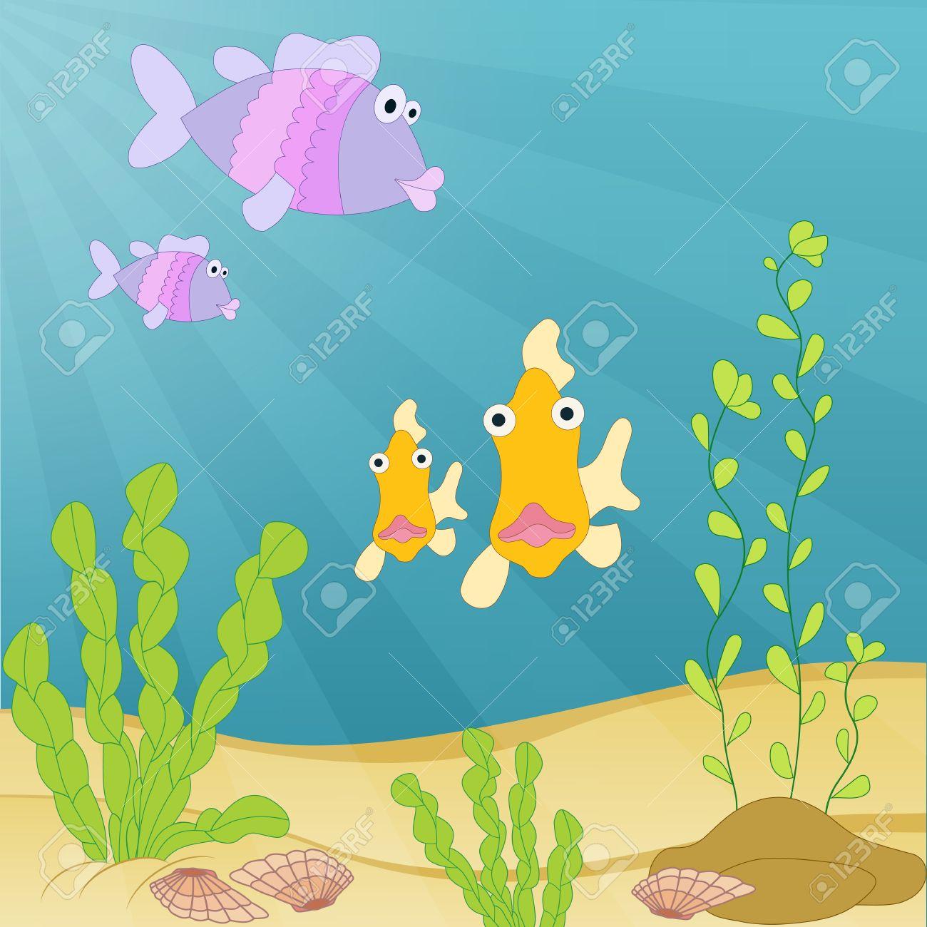 cute hand drawn cartoon illustration sea creatures under the