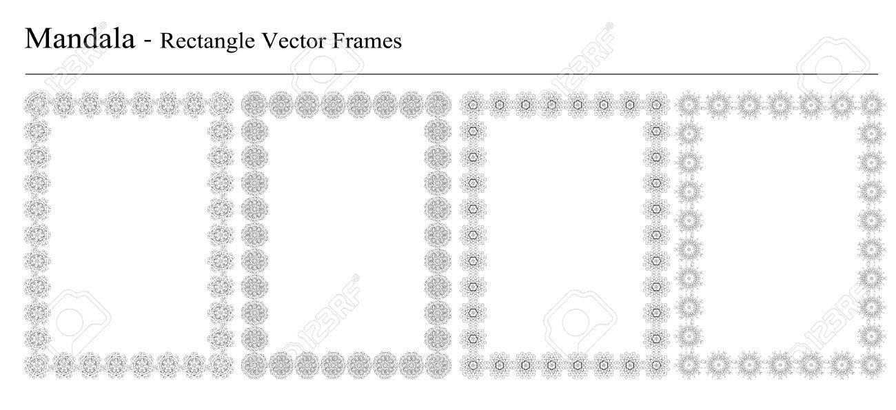 Set Von Vier Mandala, Rechteck Vektor-Rahmen Auf Weißem Hintergrund ...