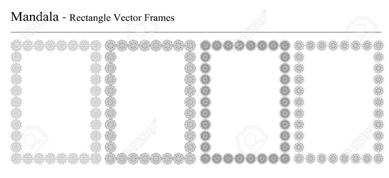 4f1b717b6dc Set Of Four Mandala Rectangle Vector Frames On White Background