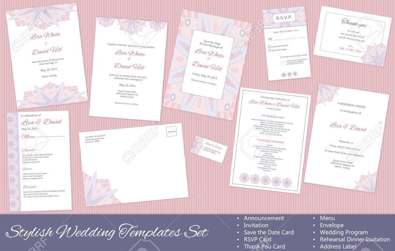Standard Bild   Stilvolle Hochzeits Vektor Vorlagen Set: Ankündigung,  Einladung, Retten Die Datumskarte, RSVP Karte, Danke Zu Kardieren, Menü,  Briefumschlag ...