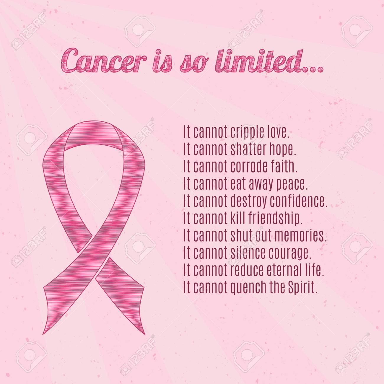 Pink Breast Cancer Awareness Ribbon Over Pink Vintage Background