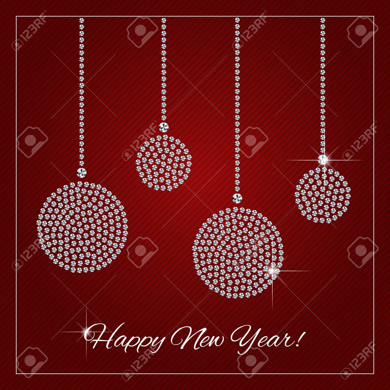 christmas new year greeting card poster shimmering diamond luxury christmas ornaments template